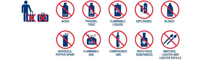 Articoli vietati in cabina